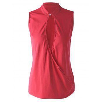 Stylish Women's Stand Collar Red Wrap Top