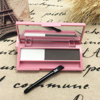 Cosmetic 2 Colours Long Lasting Sweatproof Smudge-Proof Eyebrow Powder Palette with Brush and Mirror - 01