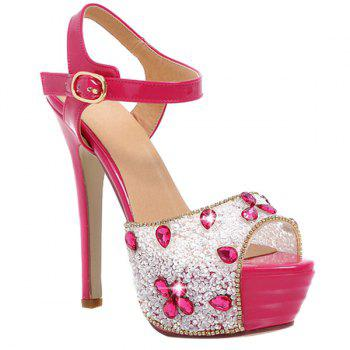 Stylish Peep Toe and Rhinestone Design Women's Sandals