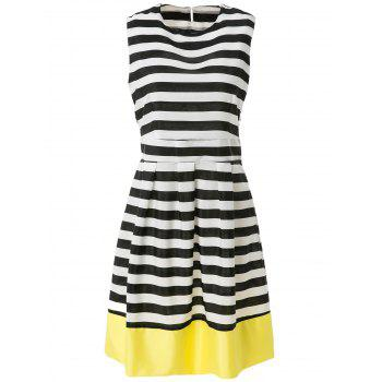 Stylish Jewel Neck Sleeveless Stripe Spliced A Line Women's Sundress