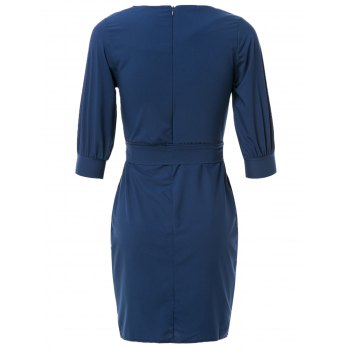 Sheath Boat Neck Dress With Belt - L L