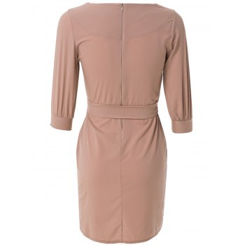Sheath Boat Neck Dress With Belt - NUDE PINK NUDE PINK