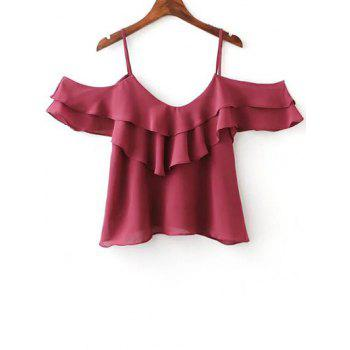 Stylish Cami Flouncing Solid Color T-Shirt For Women