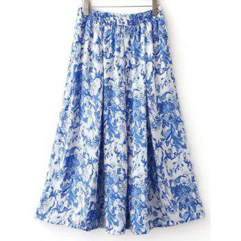 Stylish High Waisted Print Pockets Midi Skirt For Women