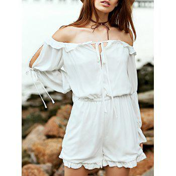 Stylish Off The Shoulder Long Sleeve White Chiffon Women's Romper