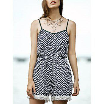 Stylish Cami Stripe Lace Splice Women's Romper