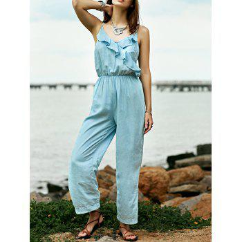 Stylish Cami Light Blue Ruffles Denim Women's Jumpsuit
