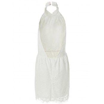 Sexy Style Halter Neck Backless Solid Color Lace Dress For Women - WHITE S
