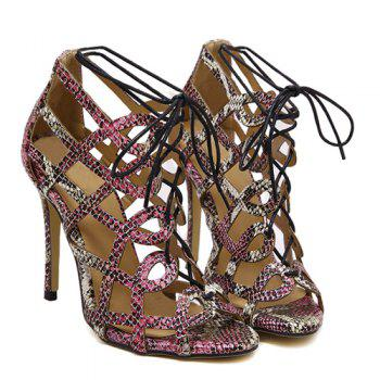 Stylish Lace-Up and Snake Print Design Women's Sandals - COLORMIX 37
