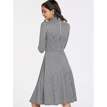 Stylish Women's 3/4 Sleeve Bow Tie Collar Buttoned Plaid Dress - WHITE/BLACK M