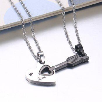 A Suit of Chic Heart Arrow Necklaces For Lover - SILVER/BLACK