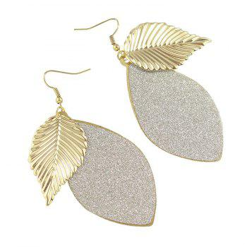 Pair of Gorgeous Engraving Leaf Drop Earrings For Women - GOLDEN