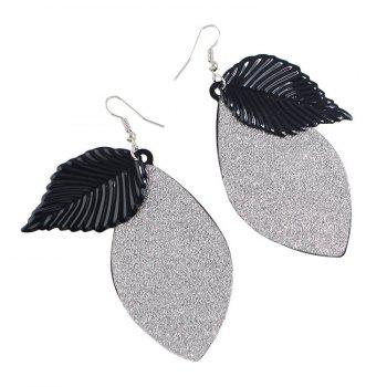 Pair of Gorgeous Engraving Leaf Drop Earrings For Women - BLACK