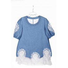 Lace Splicing Sweet Scoop Neck Diamante 1/2 Sleeve Denim Women's Blouse