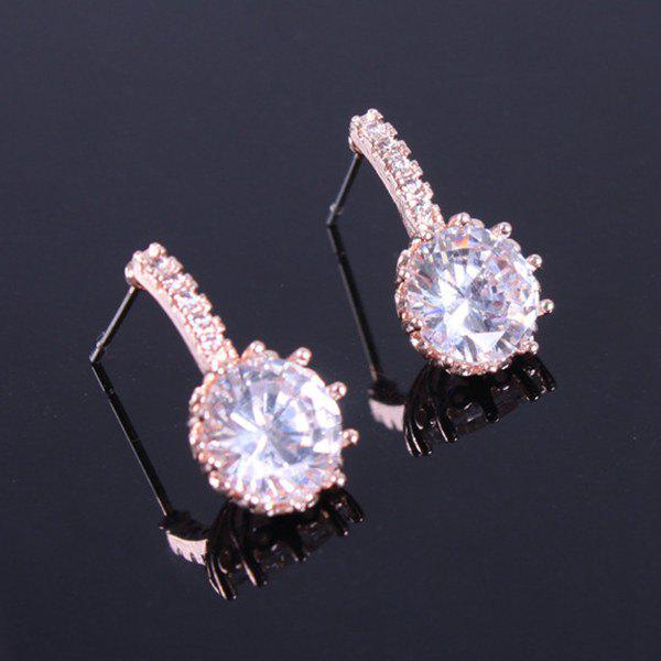 Pair of Sophisticated Gold Plated Zircon Stud Earrings For Women