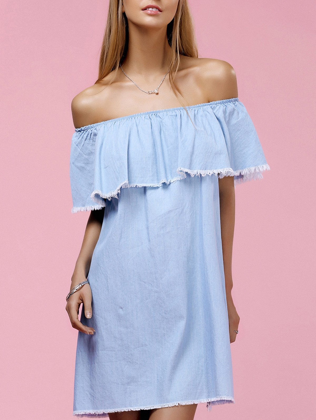 Chic Off The Shoulder Solid Color Fringed Flounce Women's Dress - LIGHT BLUE L