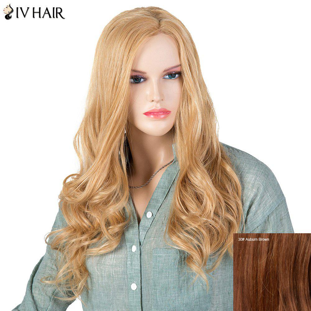 Women's Stylish Siv Hair Curly Long Human Hair Wig - AUBURN BROWN