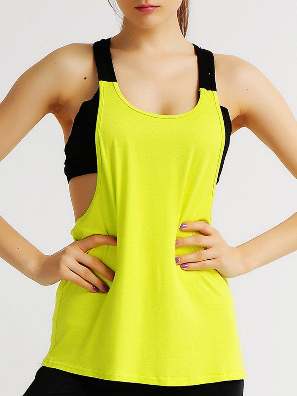 Sports Hollow Out Scoop Neck Faux Twinset Women's Tank Top - YELLOW XL