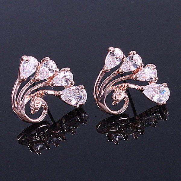 Pair of Rhinestone Peacock Stud Earrings - ROSE GOLD