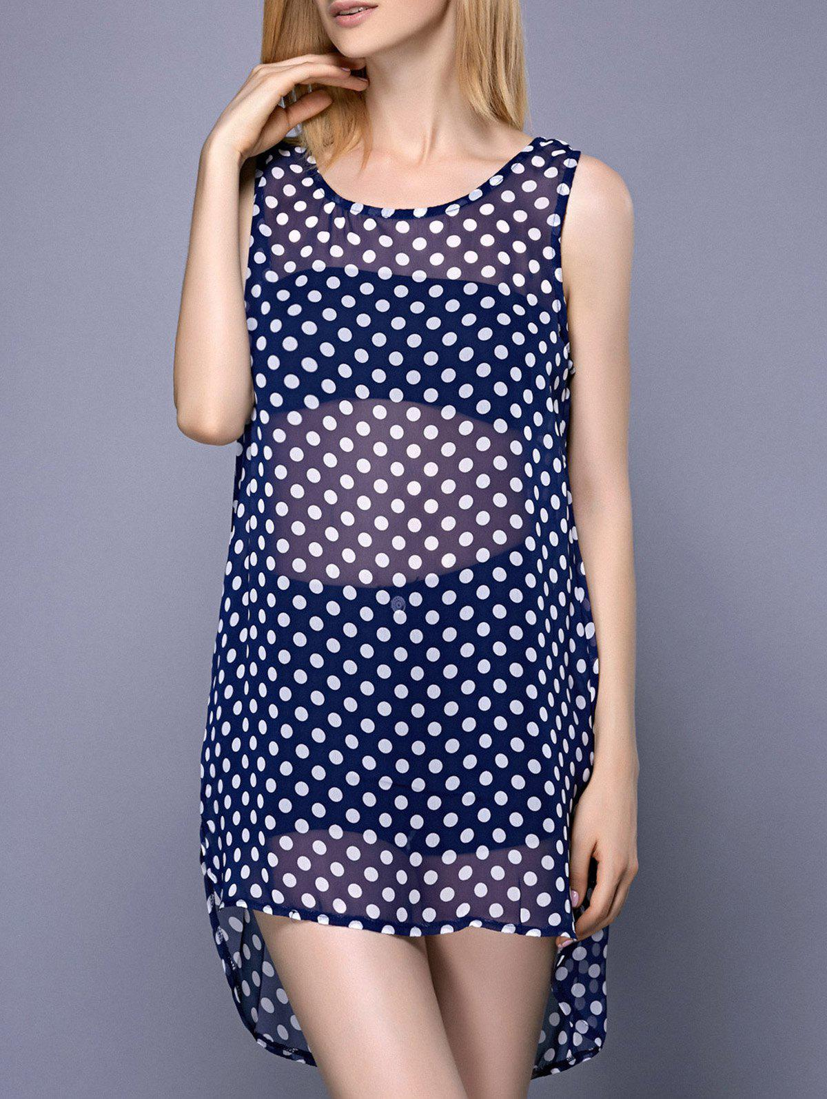 Fashionable Women's Scoop Neck Polka Dot High Low Cover-Up - BLUE 2XL