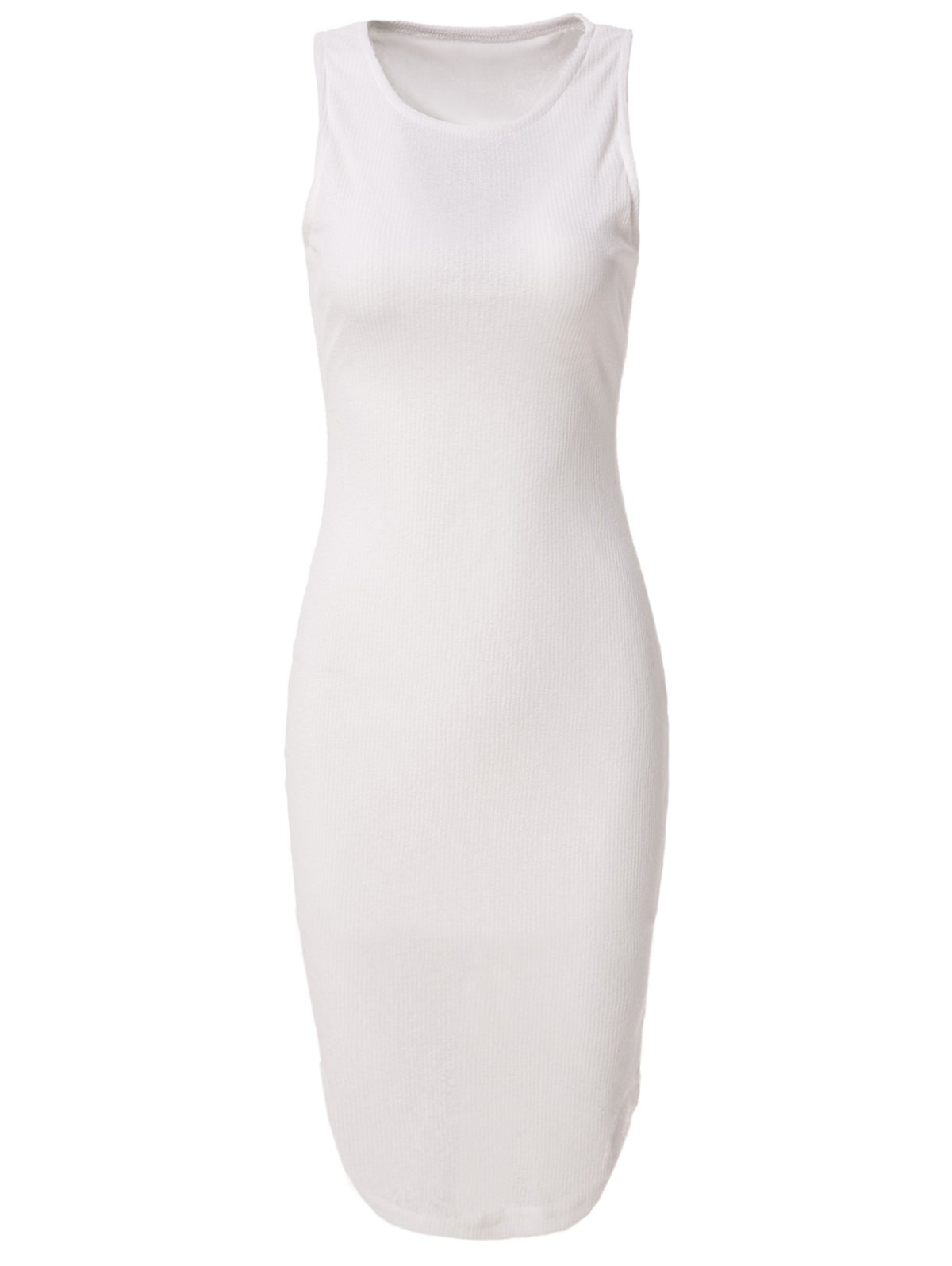 Casual Scoop White Neck Sleeveless Knee-Length Dress For Women - WHITE M