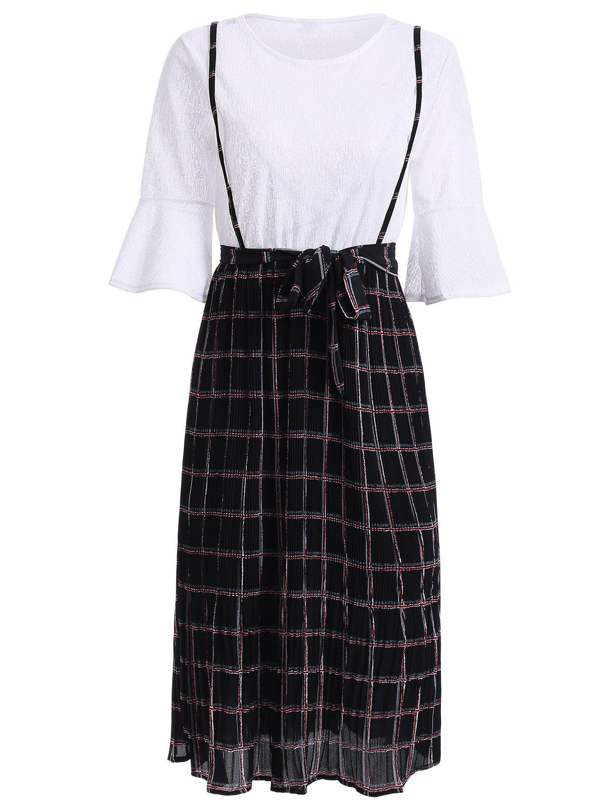 Stylish Flare Sleeve Plaid Fake Twinset Dress For Women - WHITE ONE SIZE(FIT SIZE XS TO M)
