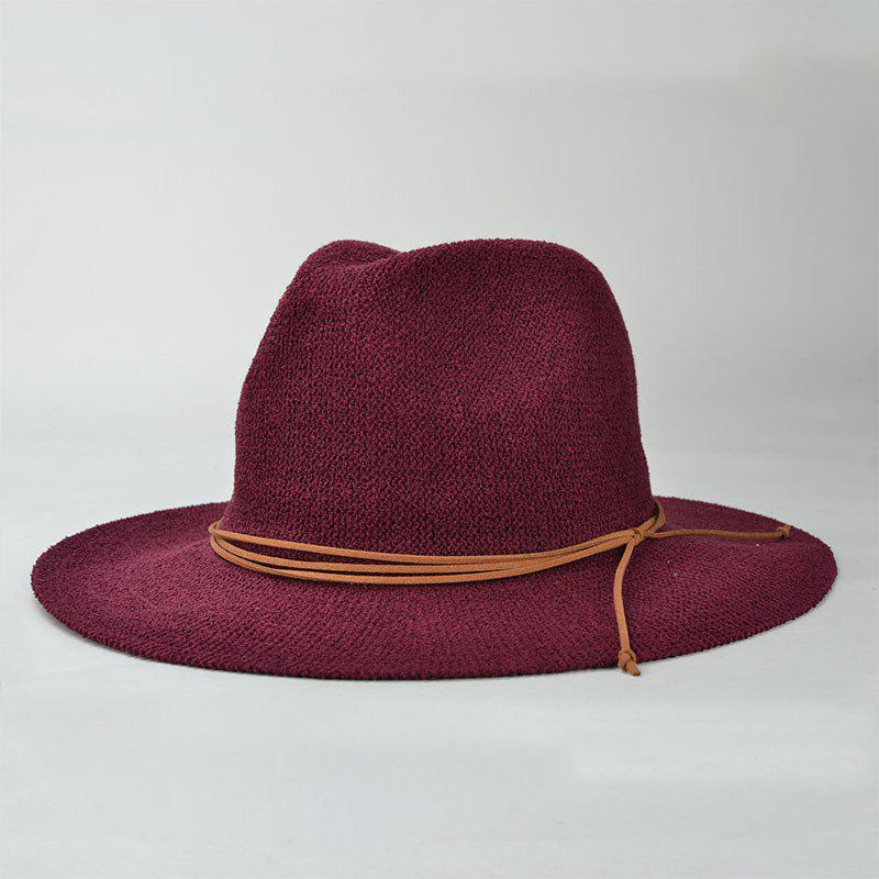 Casual Holiday Travelling Knotted Rope Sunscreen Women's Sun Hat - WINE RED