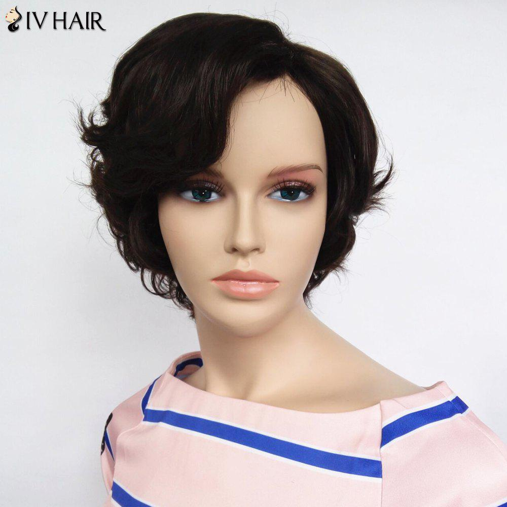 Fashion Women's Side Bang Siv Hair Short Curly Human Hair Wig - MEDIUM BROWN
