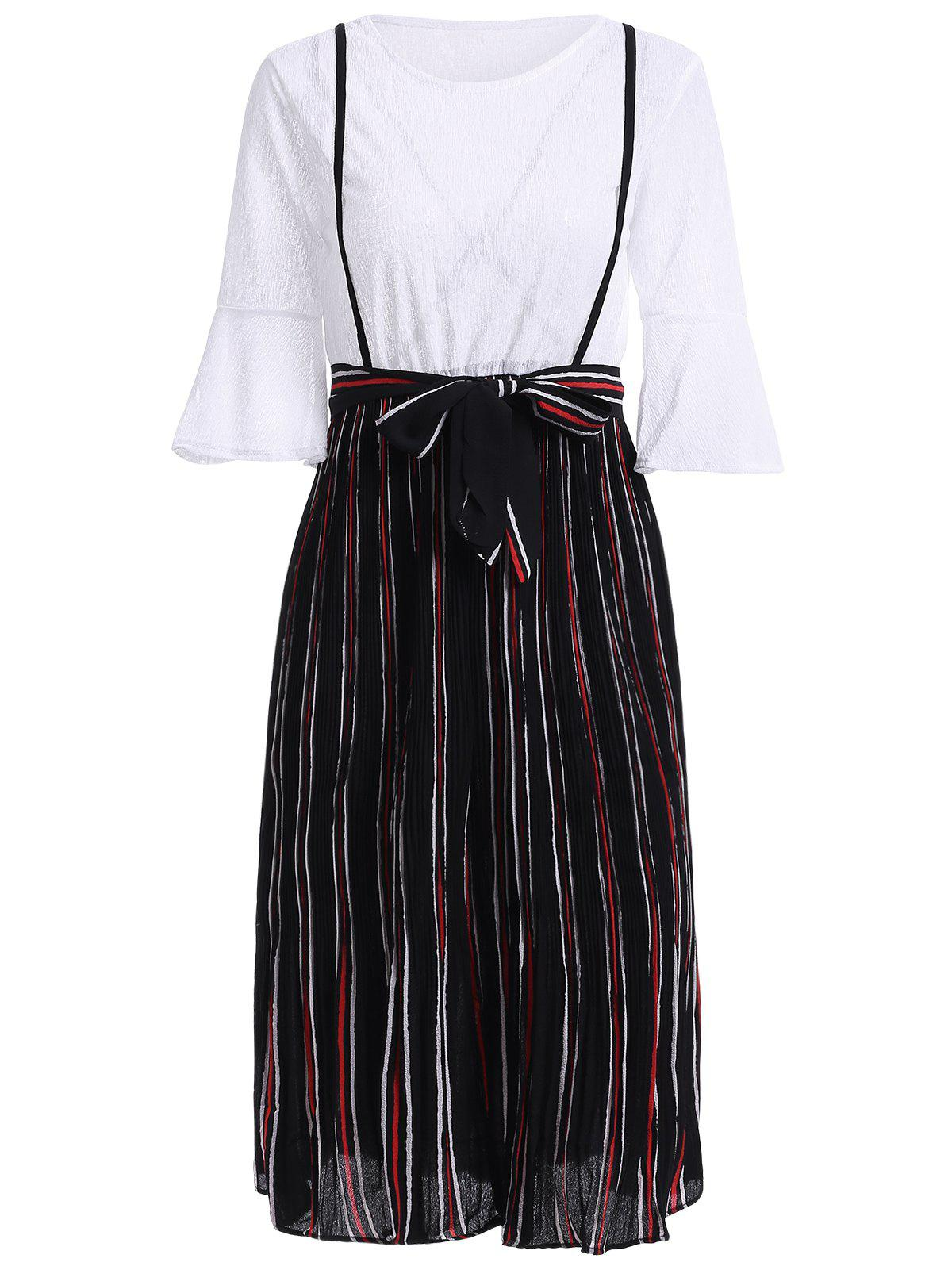 Stylish Flare Sleeve Striped Fake Twinset Dress For Women