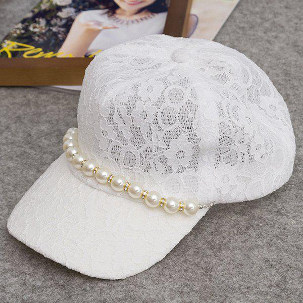 Chic Faux Pearl Chain Embellished Women's Sweet Lace Baseball Cap - WHITE