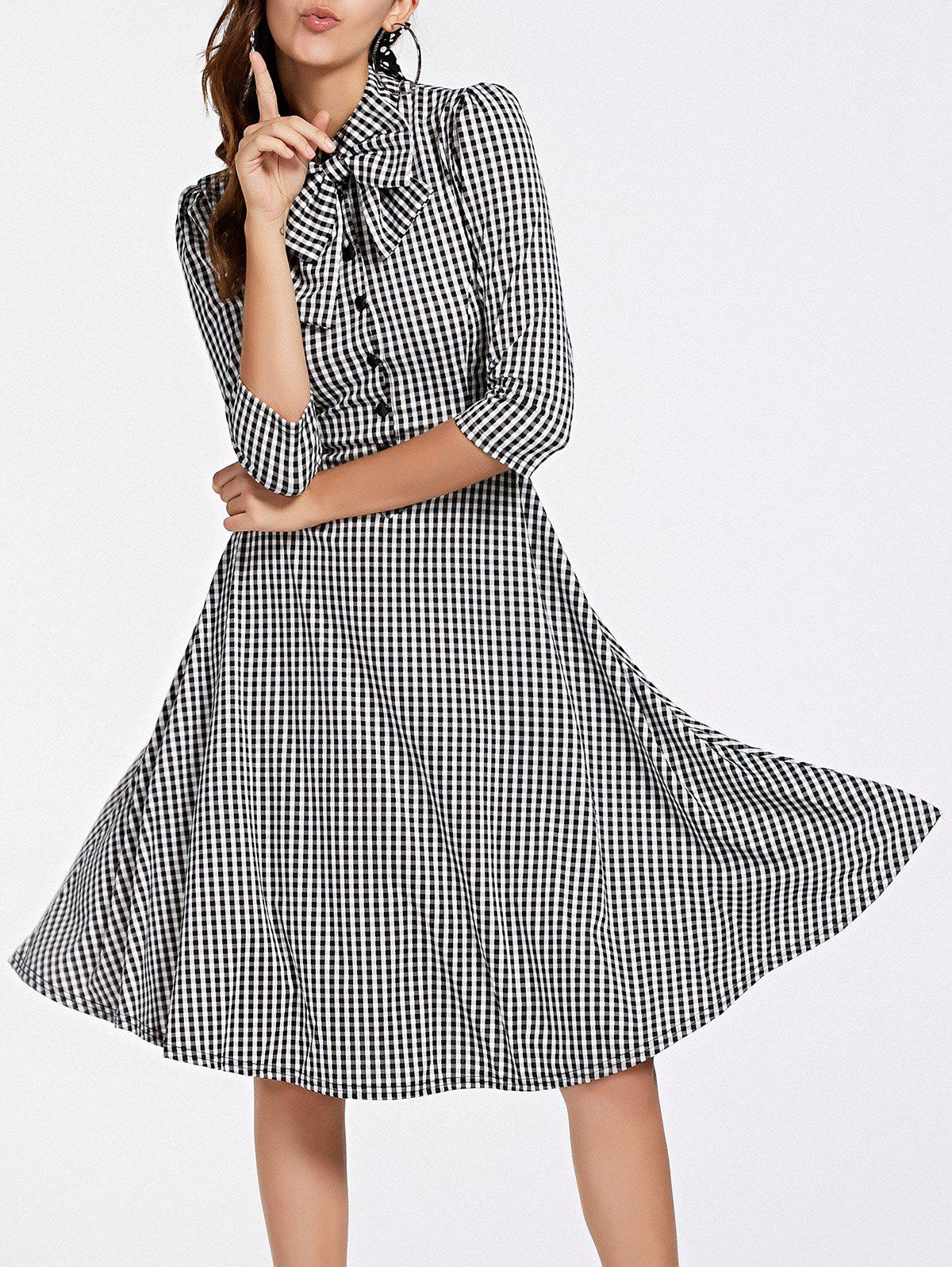 Stylish Women's 3/4 Sleeve Bow Tie Collar Buttoned Plaid Dress exaggerate bell sleeve buttoned keyhole dress