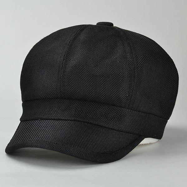 Chic Simple Solid Color Sunscreen Women's Linen Newsboy Cap - BLACK