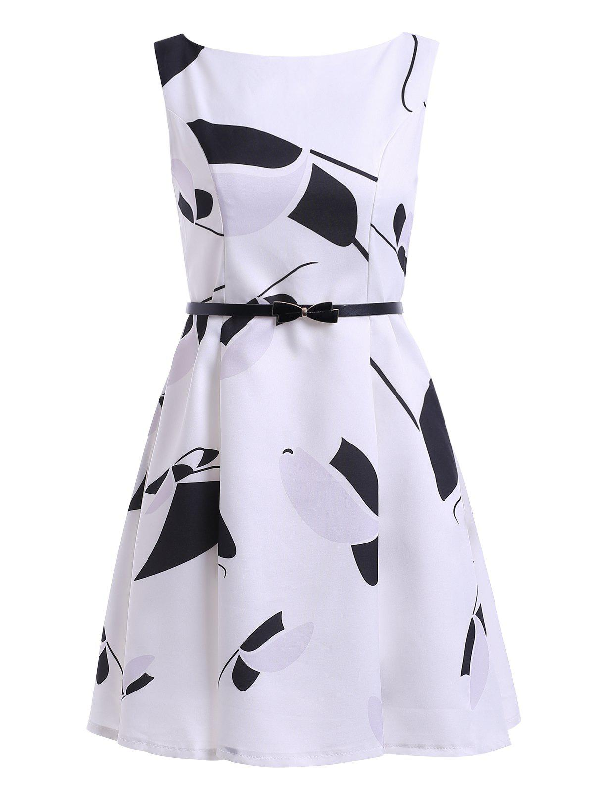 Stylish Print Sleeveless Belted Round Neck Dress For Women - WHITE M