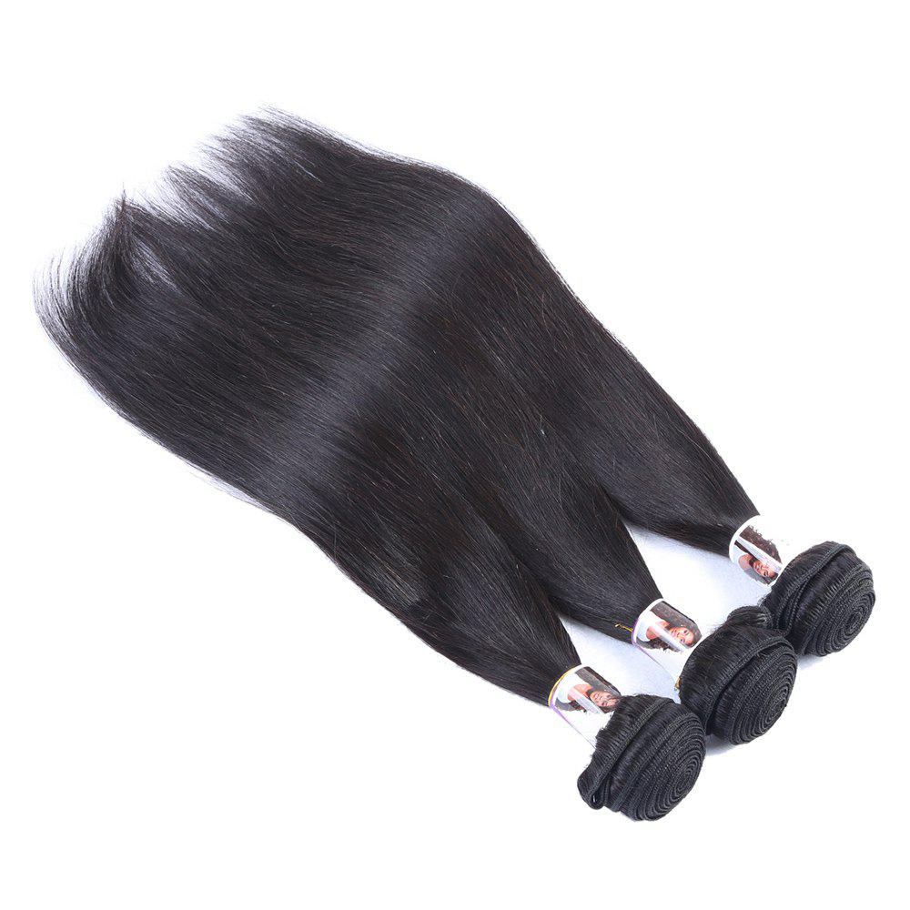 3 Pcs/Lot 5A Remy Hair Fashion Straight Natural Black Women's Indian Human Hair Weave Bundle - BLACK 10INCH*12INCH*12INCH