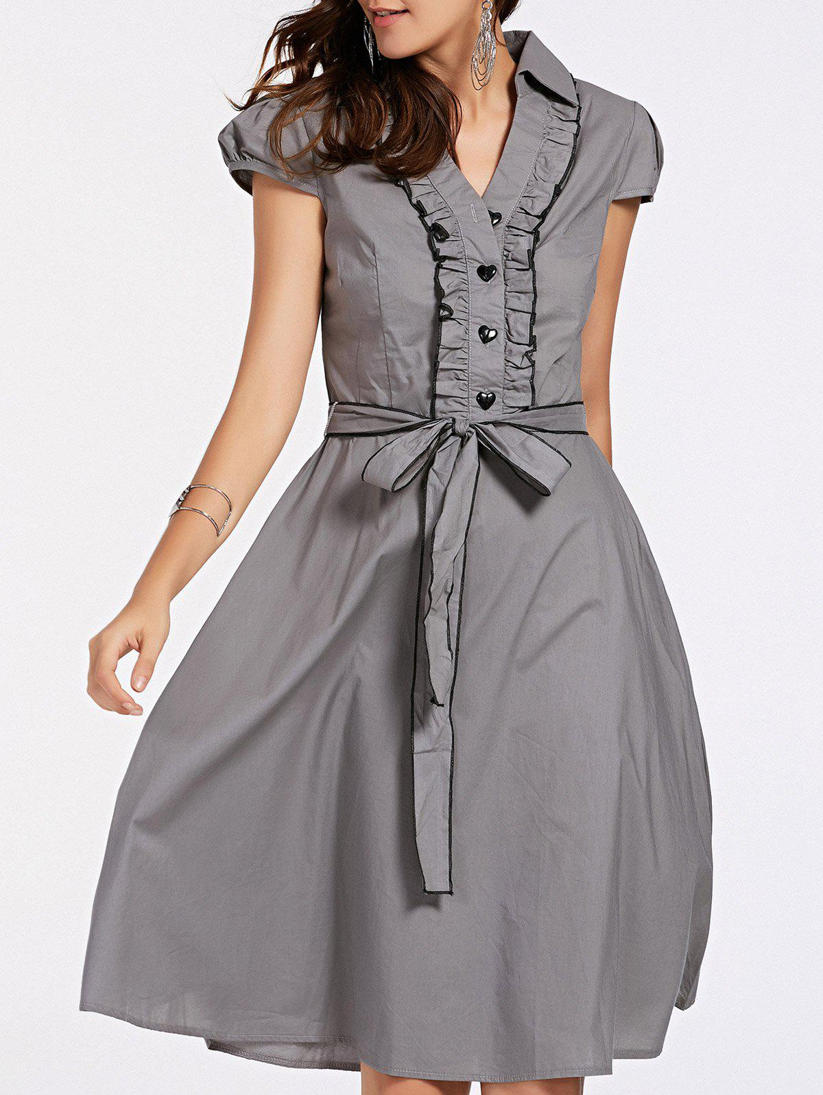 Stylish Women's Short Sleeve V-Neck Ruffled Belt-Tie Dress