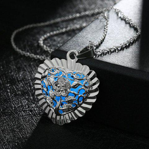 Noctilucence Geometric Heart Shape Flower Tree Pendant Necklace - LAKE BLUE