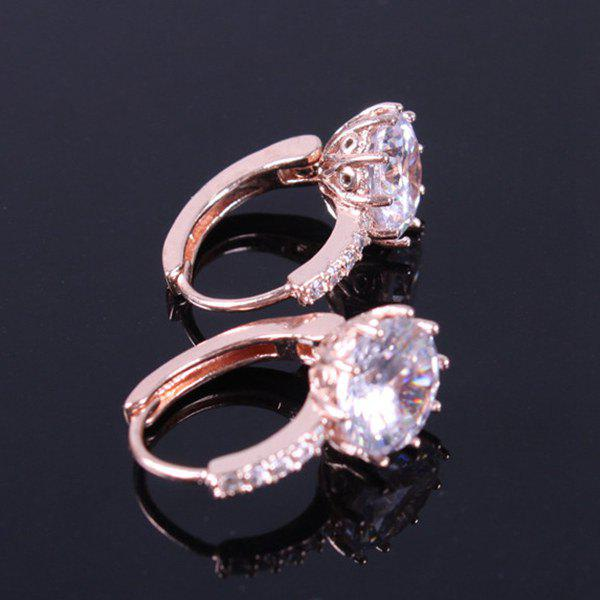 Pair of Stunning Round Zircon Rhinestone Embellished Earrings For Women - ROSE GOLD
