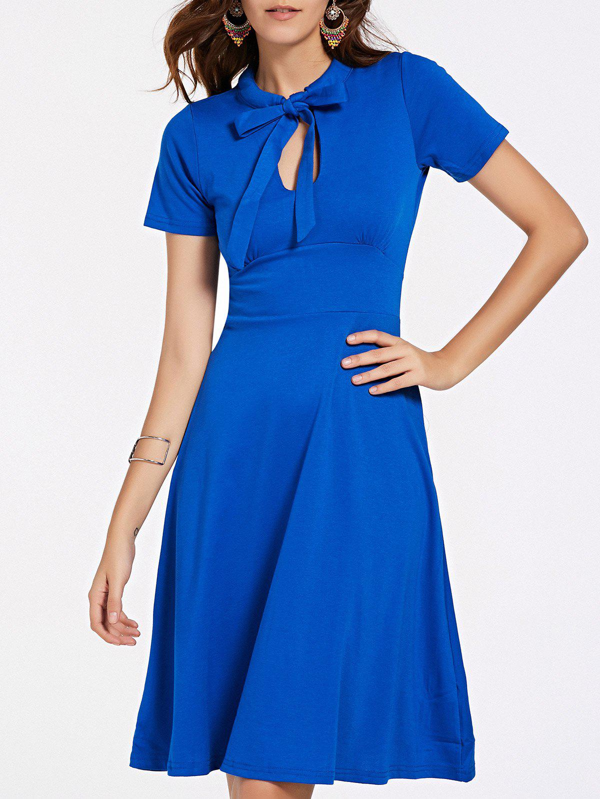 Stylish Women's Short Sleeve Bow Tie Neck Flare Dress - BLUE XL