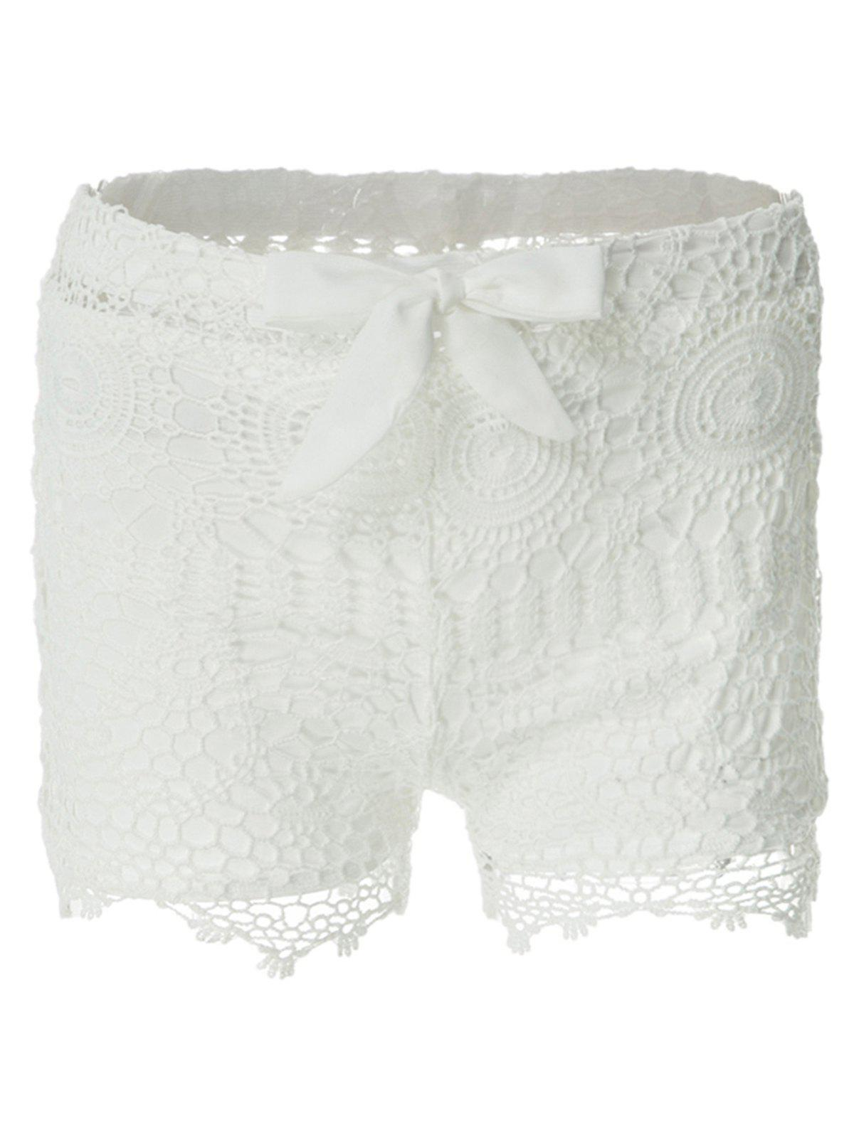 Sweet Style Solid Color Lace Tie-Up Shorts For Women - WHITE S