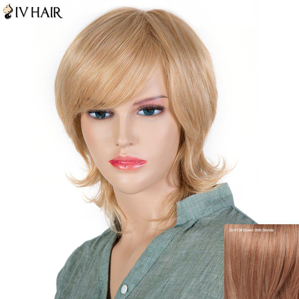 Fluffy Women's Inclined Bang Siv Hair Short Human Hair Wig -  BROWN/BLONDE