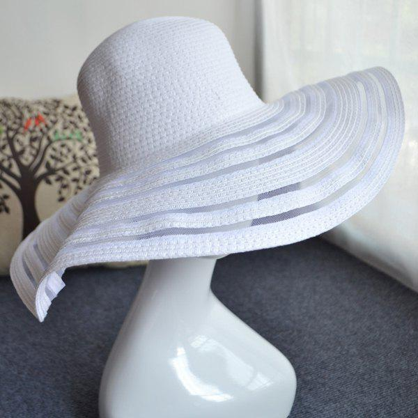 Chic Transparent Yarn Brim Outdoor Sunscreen Women's Straw Hat - WHITE
