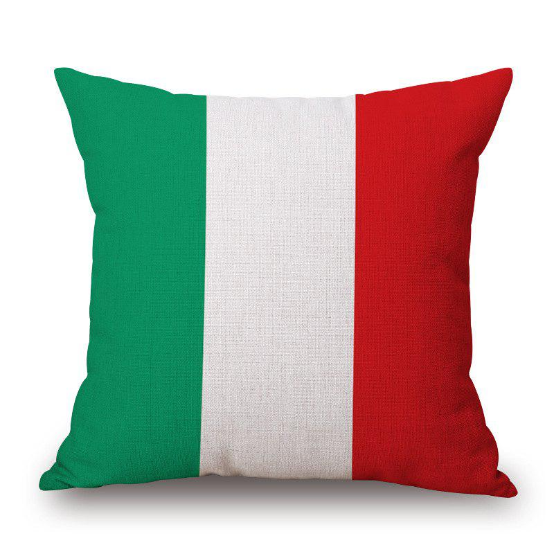 2016 Stylish European Cup Italian Flag Pattern Square Shape Flax Cushion Cover - COLORMIX