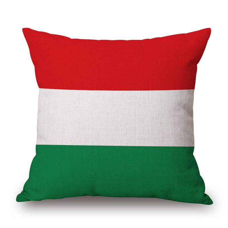 Stylish Hungarian Flag Pattern Square Shape Flax Cushion Cover - COLORMIX
