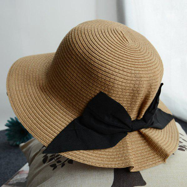 Chic Big Black Bowknot Outdoor Sunscreen Women's Pleated Straw Hat - COFFEE