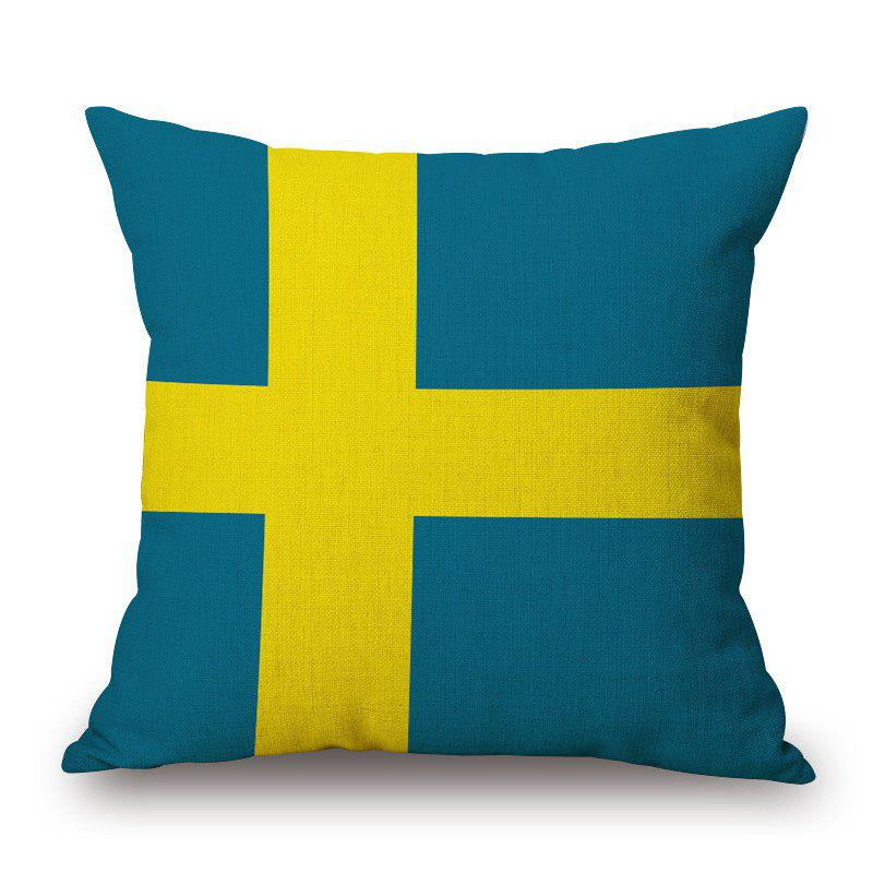 2016 Stylish European Cup Sweden Flag Pattern Square Shape Flax Cushion Cover - COLORMIX
