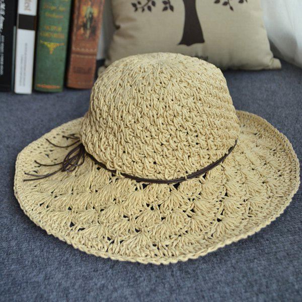 Chic Rope Hollow Out Crocheting Outdoor Sunscreen Women's Straw Hat - BEIGE