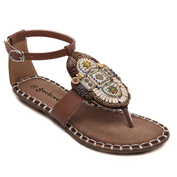 Casual PU Leather and Beading Design Women's Sandals - BROWN 38