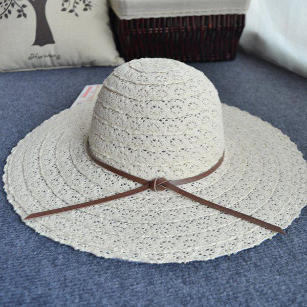 Chic Knotted Rope Casual Holiday Travelling Elegant Lady Lace Sun Hat -  OFF WHITE