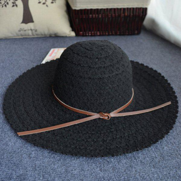 Chic corde nouée Casual Holiday Voyager Elegant Lady Lace Sun Hat - Noir