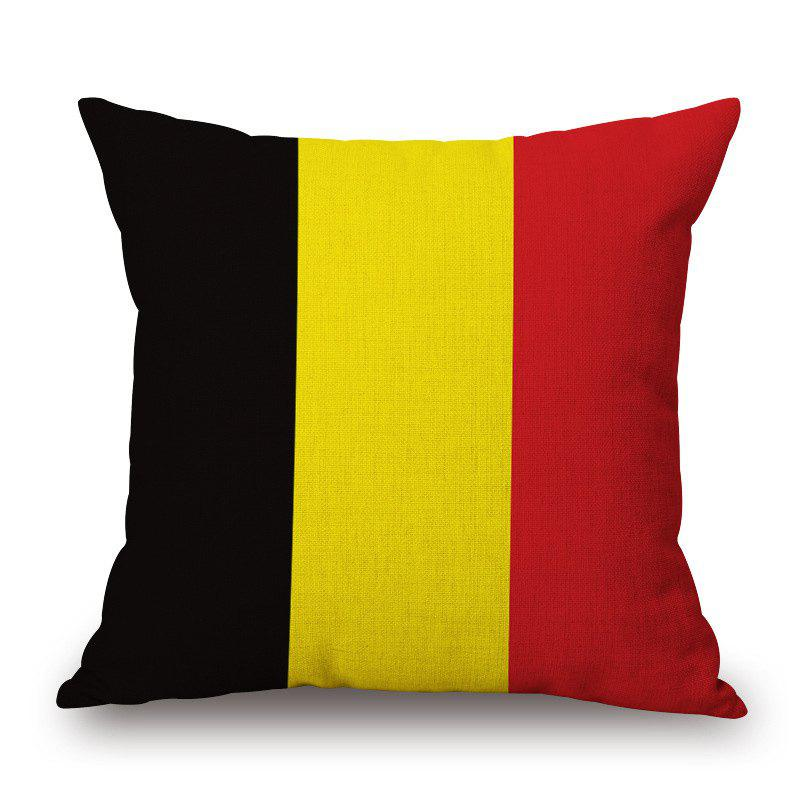 Stylish Belgian Flag Pattern Square Shape Flax Cushion Cover - COLORMIX